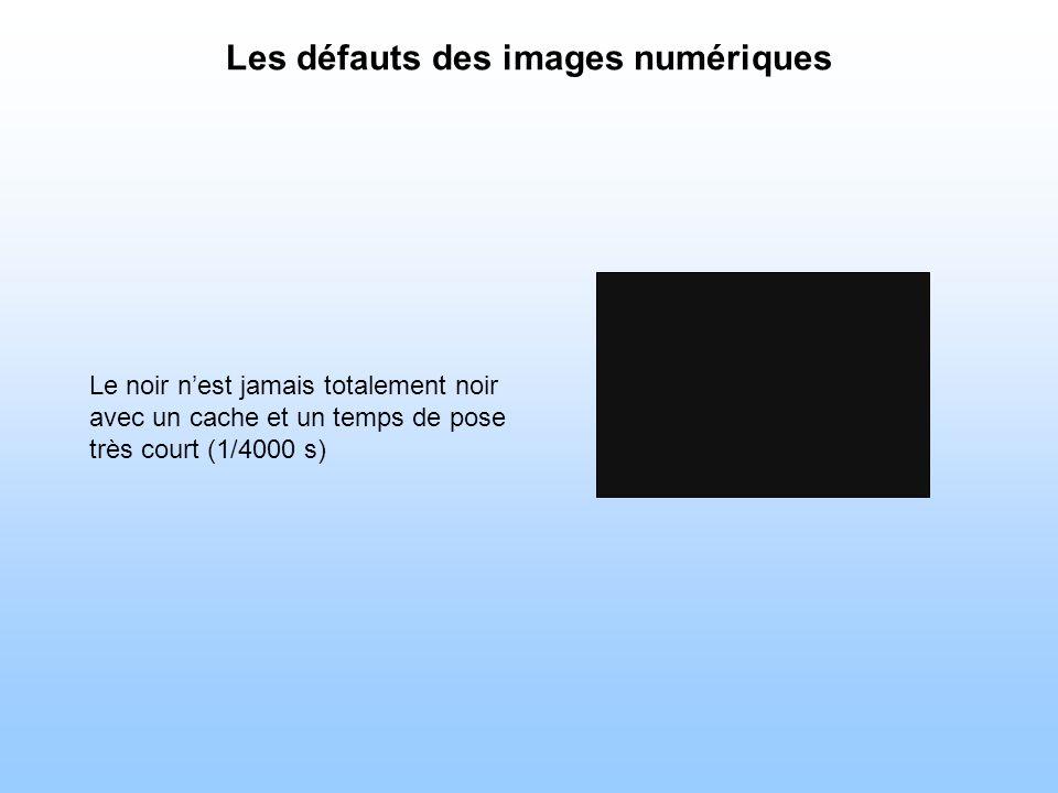 Les défauts des images numériques Le noir nest jamais totalement noir avec un cache et un temps de pose très court (1/4000 s)