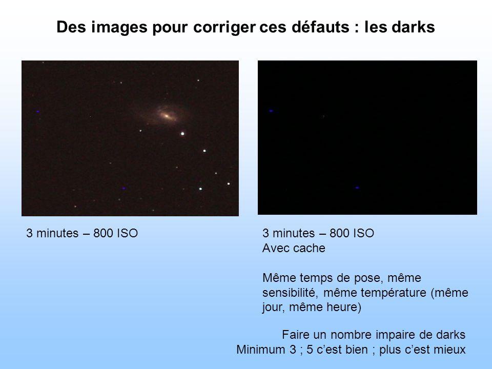 Des images pour corriger ces défauts : les darks 3 minutes – 800 ISO Avec cache Même temps de pose, même sensibilité, même température (même jour, même heure) Faire un nombre impaire de darks Minimum 3 ; 5 cest bien ; plus cest mieux
