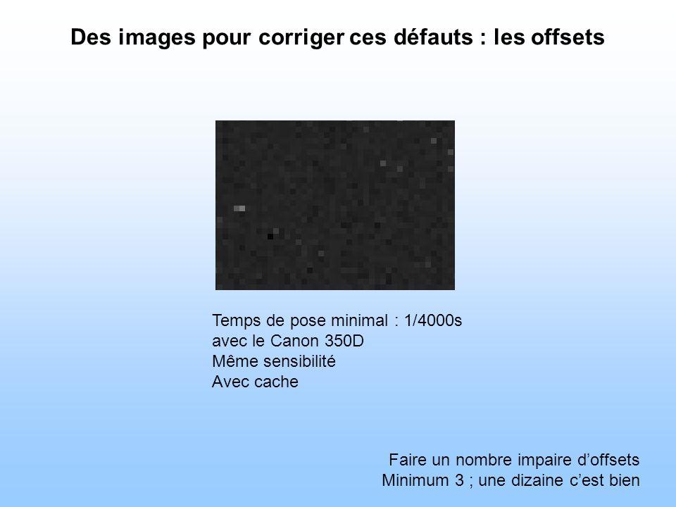 Des images pour corriger ces défauts : les offsets Temps de pose minimal : 1/4000s avec le Canon 350D Même sensibilité Avec cache Faire un nombre impaire doffsets Minimum 3 ; une dizaine cest bien