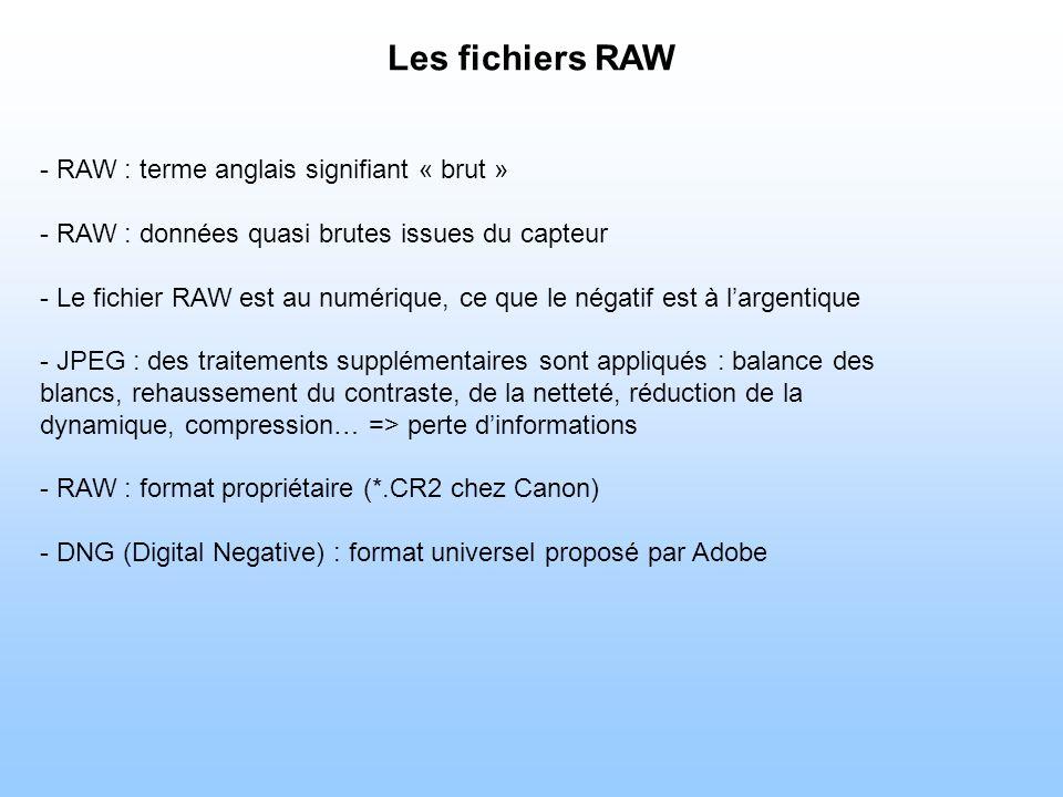 Les fichiers RAW - RAW : terme anglais signifiant « brut » - RAW : données quasi brutes issues du capteur - Le fichier RAW est au numérique, ce que le négatif est à largentique - JPEG : des traitements supplémentaires sont appliqués : balance des blancs, rehaussement du contraste, de la netteté, réduction de la dynamique, compression… => perte dinformations - RAW : format propriétaire (*.CR2 chez Canon) - DNG (Digital Negative) : format universel proposé par Adobe