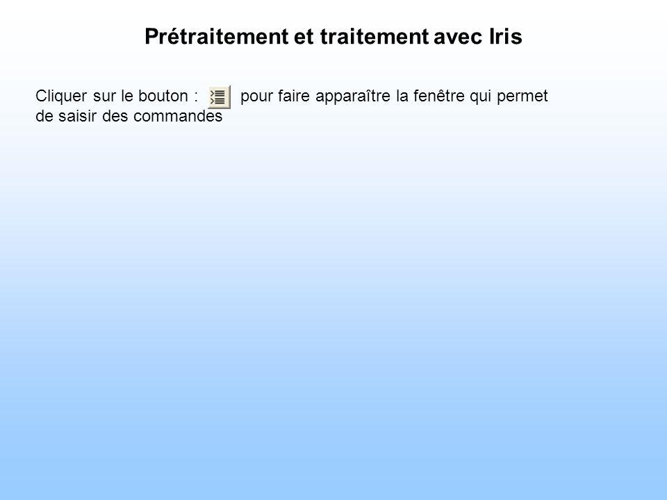 Prétraitement et traitement avec Iris Cliquer sur le bouton : pour faire apparaître la fenêtre qui permet de saisir des commandes