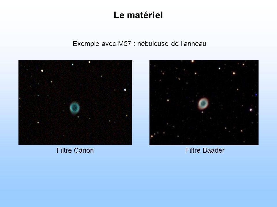 Exemple avec M57 : nébuleuse de lanneau Filtre BaaderFiltre Canon