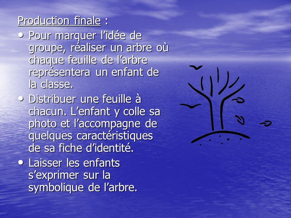 Production finale : Pour marquer lidée de groupe, réaliser un arbre où chaque feuille de larbre représentera un enfant de la classe. Pour marquer lidé