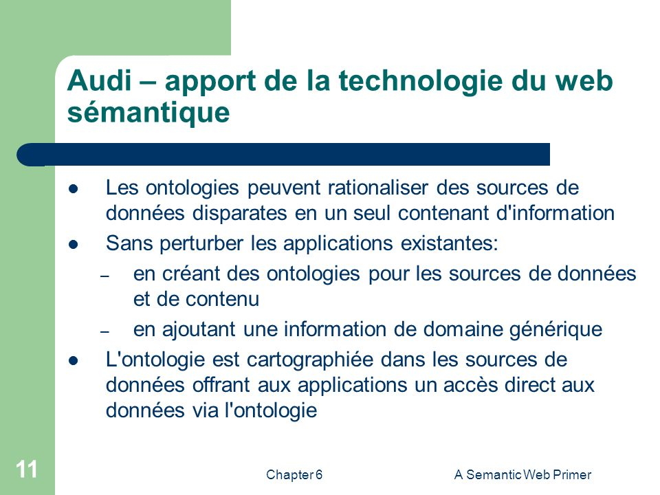 Chapter 6A Semantic Web Primer 11 Audi – apport de la technologie du web sémantique Les ontologies peuvent rationaliser des sources de données dispara