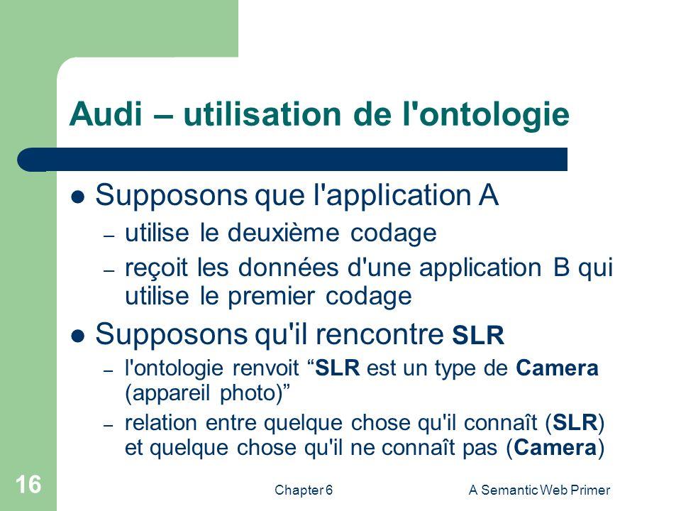 Chapter 6A Semantic Web Primer 16 Audi – utilisation de l'ontologie Supposons que l'application A – utilise le deuxième codage – reçoit les données d'