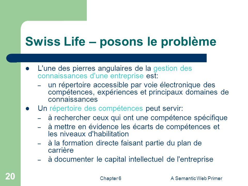 Chapter 6A Semantic Web Primer 20 Swiss Life – posons le problème L'une des pierres angulaires de la gestion des connaissances d'une entreprise est: –