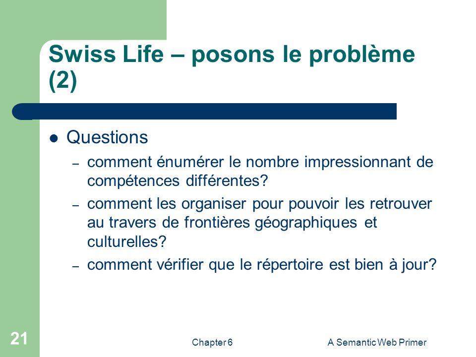 Chapter 6A Semantic Web Primer 21 Swiss Life – posons le problème (2) Questions – comment énumérer le nombre impressionnant de compétences différentes