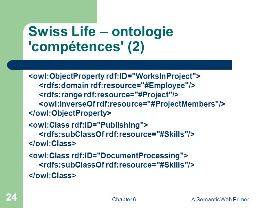Chapter 6A Semantic Web Primer 24 Swiss Life – ontologie 'compétences' (2)