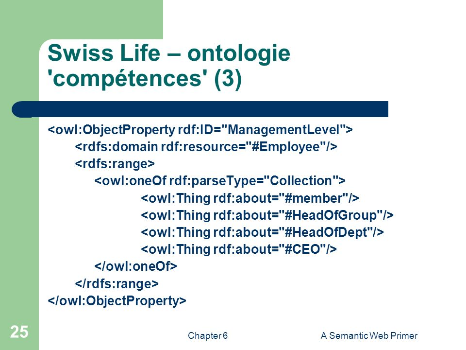 Chapter 6A Semantic Web Primer 25 Swiss Life – ontologie 'compétences' (3)