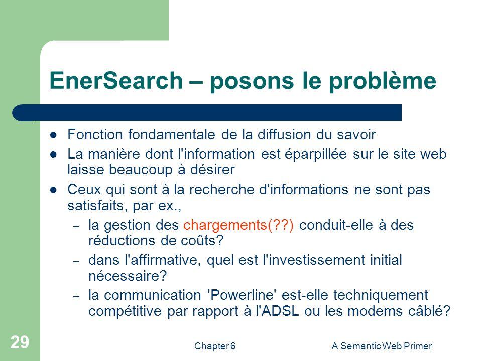 Chapter 6A Semantic Web Primer 29 EnerSearch – posons le problème Fonction fondamentale de la diffusion du savoir La manière dont l'information est ép