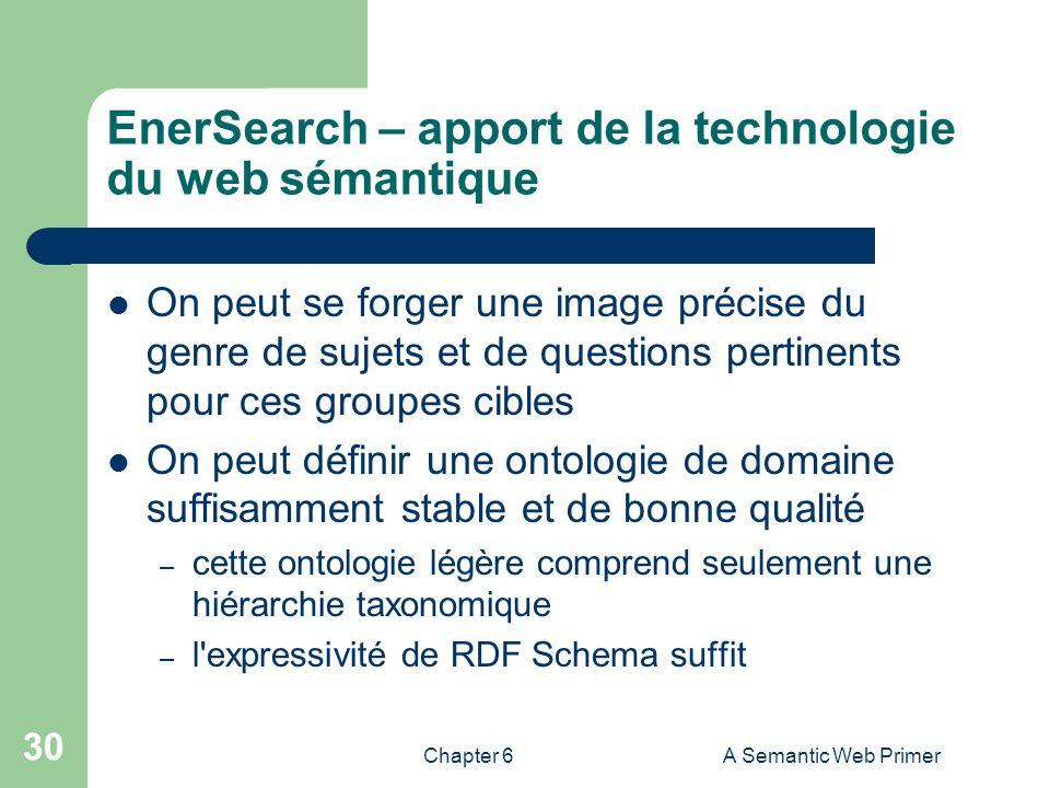 Chapter 6A Semantic Web Primer 30 EnerSearch – apport de la technologie du web sémantique On peut se forger une image précise du genre de sujets et de