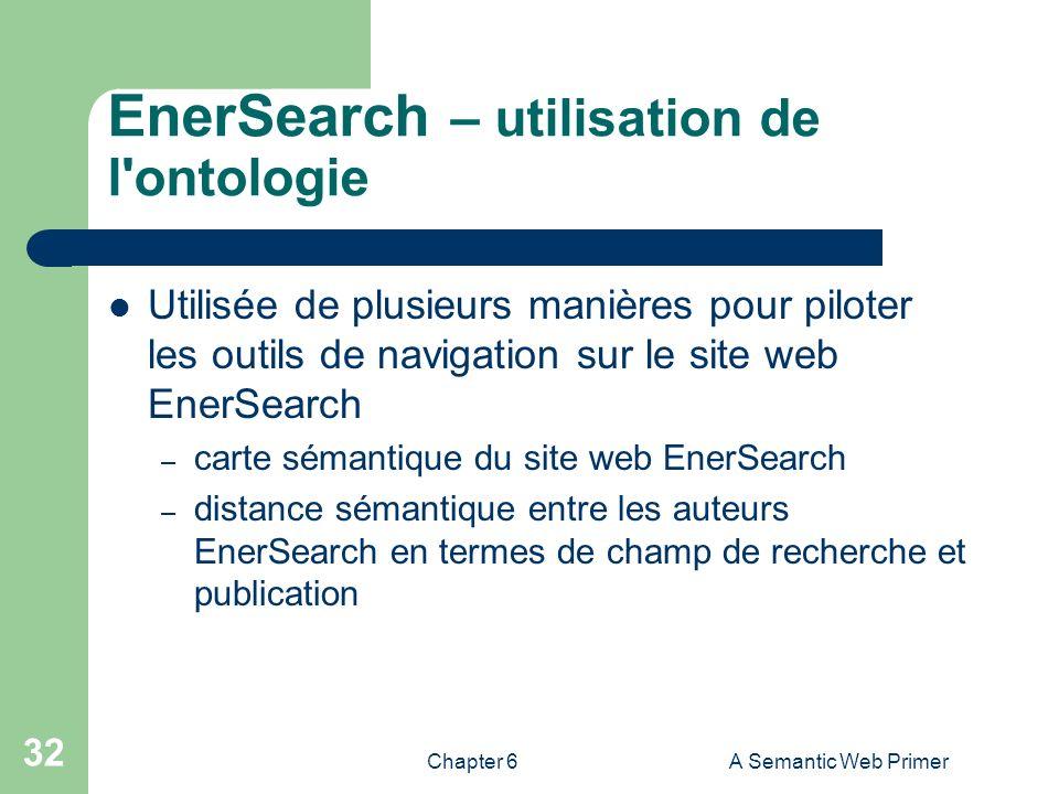 Chapter 6A Semantic Web Primer 32 EnerSearch – utilisation de l'ontologie Utilisée de plusieurs manières pour piloter les outils de navigation sur le