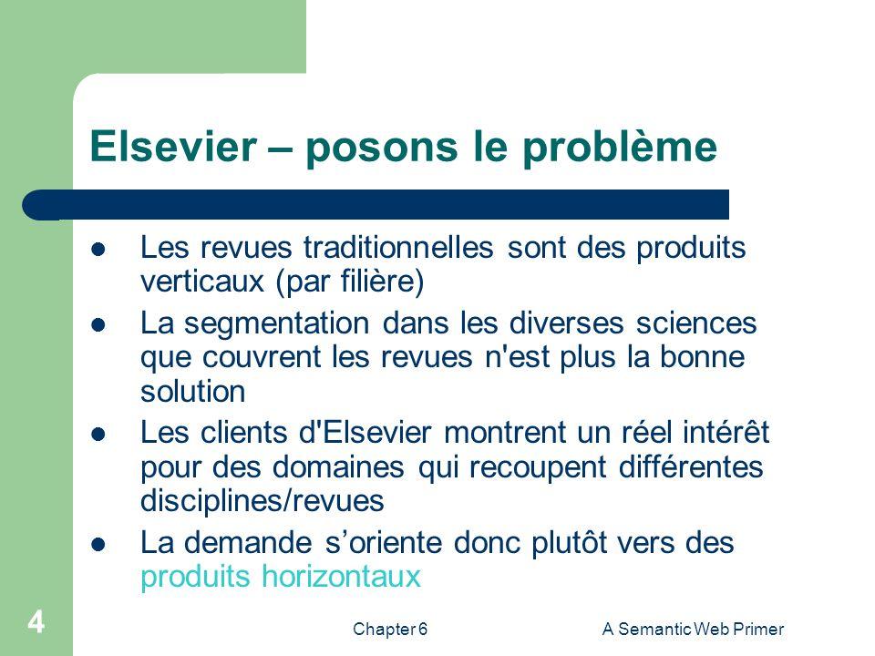Chapter 6A Semantic Web Primer 4 Elsevier – posons le problème Les revues traditionnelles sont des produits verticaux (par filière) La segmentation da