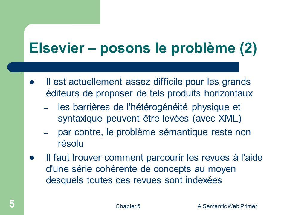 Chapter 6A Semantic Web Primer 5 Elsevier – posons le problème (2) Il est actuellement assez difficile pour les grands éditeurs de proposer de tels pr