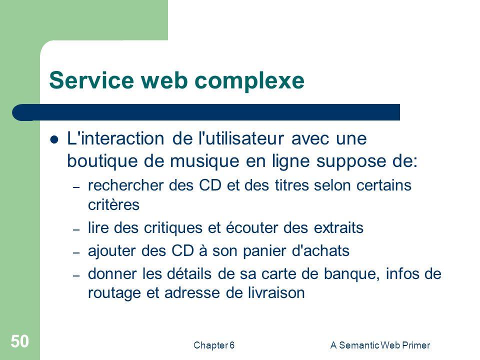 Chapter 6A Semantic Web Primer 50 Service web complexe L'interaction de l'utilisateur avec une boutique de musique en ligne suppose de: – rechercher d