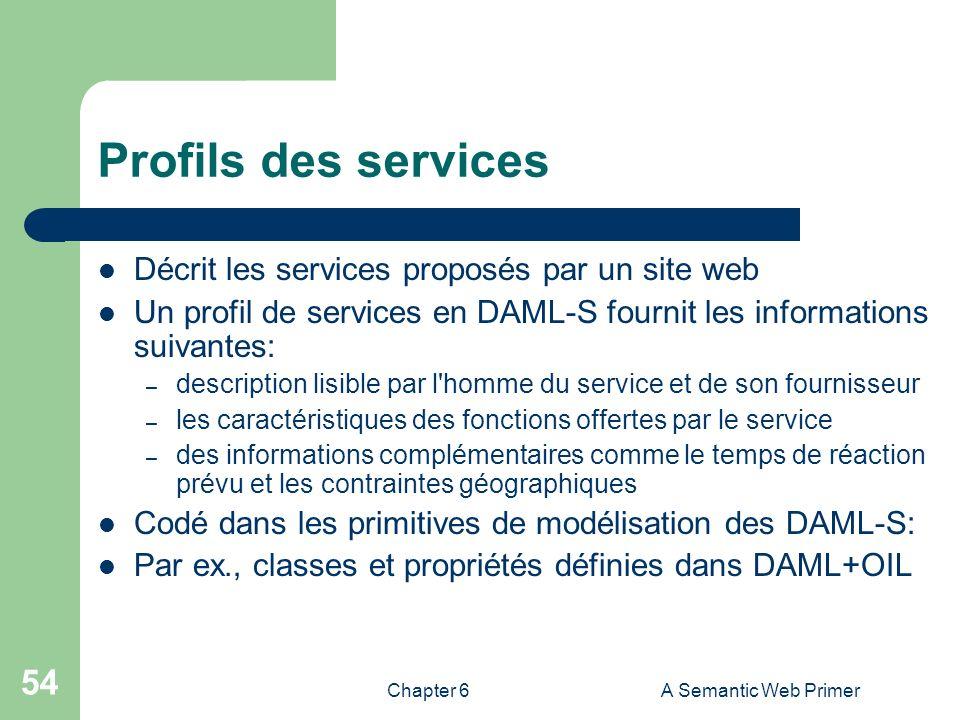 Chapter 6A Semantic Web Primer 54 Profils des services Décrit les services proposés par un site web Un profil de services en DAML-S fournit les inform