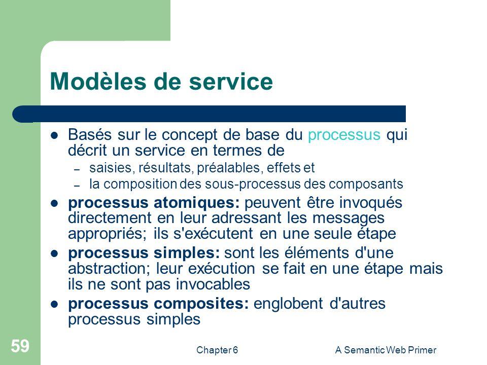 Chapter 6A Semantic Web Primer 59 Modèles de service Basés sur le concept de base du processus qui décrit un service en termes de – saisies, résultats
