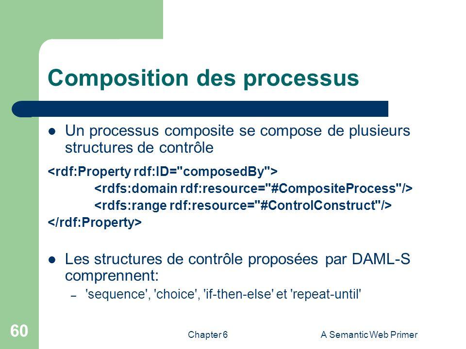 Chapter 6A Semantic Web Primer 60 Composition des processus Un processus composite se compose de plusieurs structures de contrôle Les structures de co