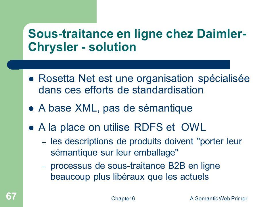 Chapter 6A Semantic Web Primer 67 Sous-traitance en ligne chez Daimler- Chrysler - solution Rosetta Net est une organisation spécialisée dans ces effo