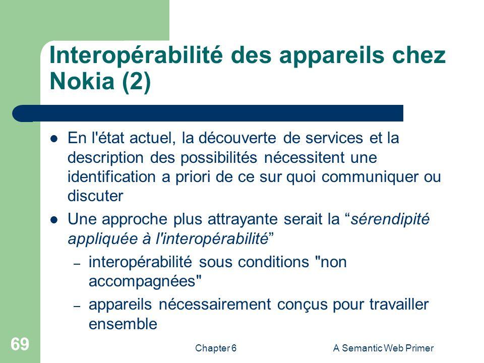 Chapter 6A Semantic Web Primer 69 Interopérabilité des appareils chez Nokia (2) En l'état actuel, la découverte de services et la description des poss