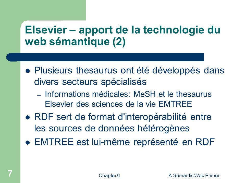 Chapter 6A Semantic Web Primer 7 Elsevier – apport de la technologie du web sémantique (2) Plusieurs thesaurus ont été développés dans divers secteurs