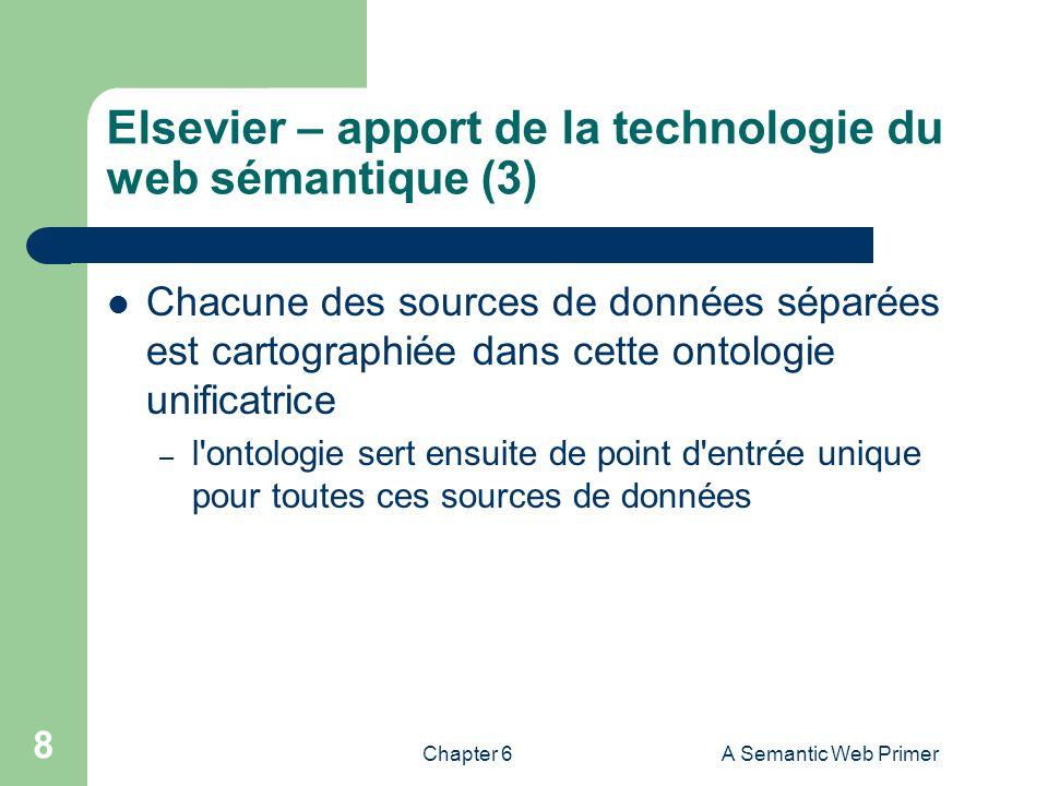 Chapter 6A Semantic Web Primer 8 Elsevier – apport de la technologie du web sémantique (3) Chacune des sources de données séparées est cartographiée d