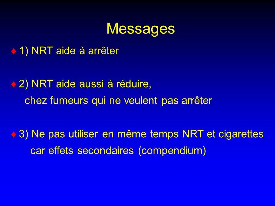 1) NRT aide à arrêter 2) NRT aide aussi à réduire, chez fumeurs qui ne veulent pas arrêter 3) Ne pas utiliser en même temps NRT et cigarettes car effets secondaires (compendium) Messages