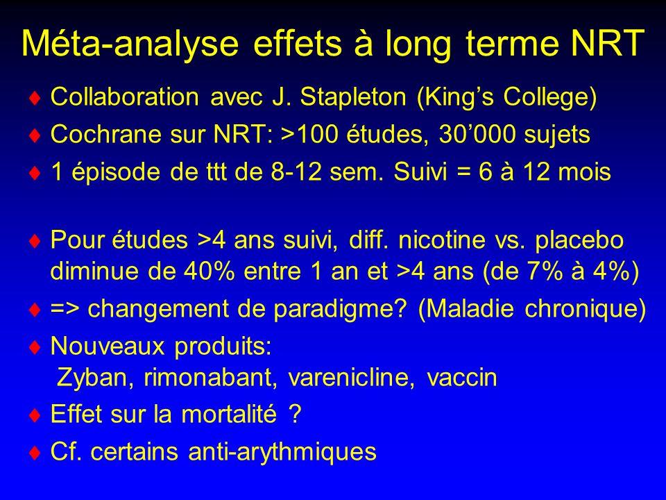 Méta-analyse effets à long terme NRT Collaboration avec J.