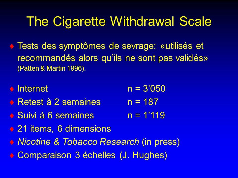 The Cigarette Withdrawal Scale Tests des symptômes de sevrage: «utilisés et recommandés alors quils ne sont pas validés» (Patten & Martin 1996).