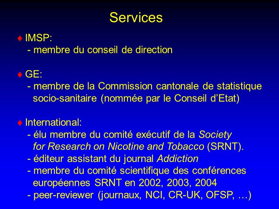 IMSP: - membre du conseil de direction GE: - membre de la Commission cantonale de statistique socio-sanitaire (nommée par le Conseil dEtat) International: - élu membre du comité exécutif de la Society for Research on Nicotine and Tobacco (SRNT).