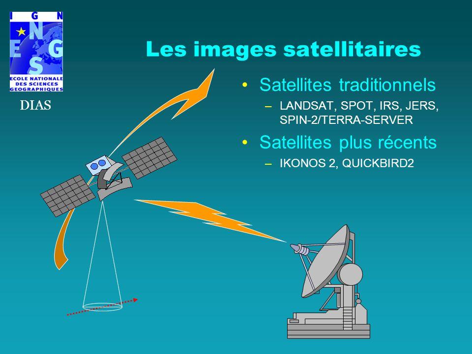 Les images satellitaires Satellites traditionnels –LANDSAT, SPOT, IRS, JERS, SPIN-2/TERRA-SERVER Satellites plus récents –IKONOS 2, QUICKBIRD2 DIAS