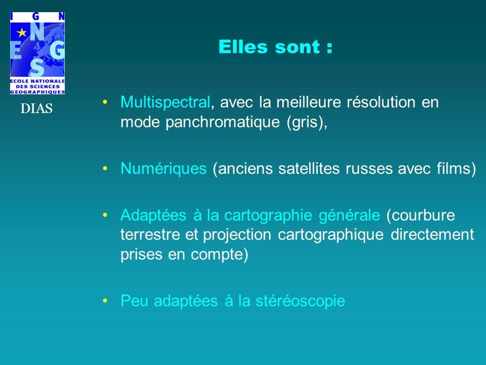 Multispectral, avec la meilleure résolution en mode panchromatique (gris), Numériques (anciens satellites russes avec films) Adaptées à la cartographi