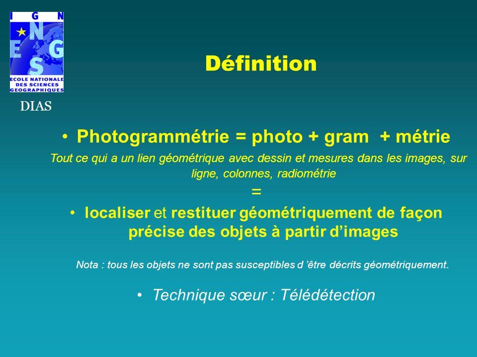 Définition Photogrammétrie = photo + gram + métrie Tout ce qui a un lien géométrique avec dessin et mesures dans les images, sur ligne, colonnes, radi