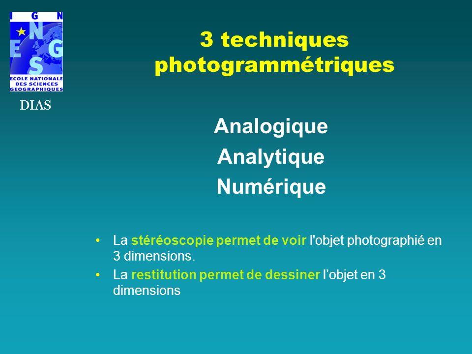 3 techniques photogrammétriques Analogique Analytique Numérique La stéréoscopie permet de voir l'objet photographié en 3 dimensions. La restitution pe