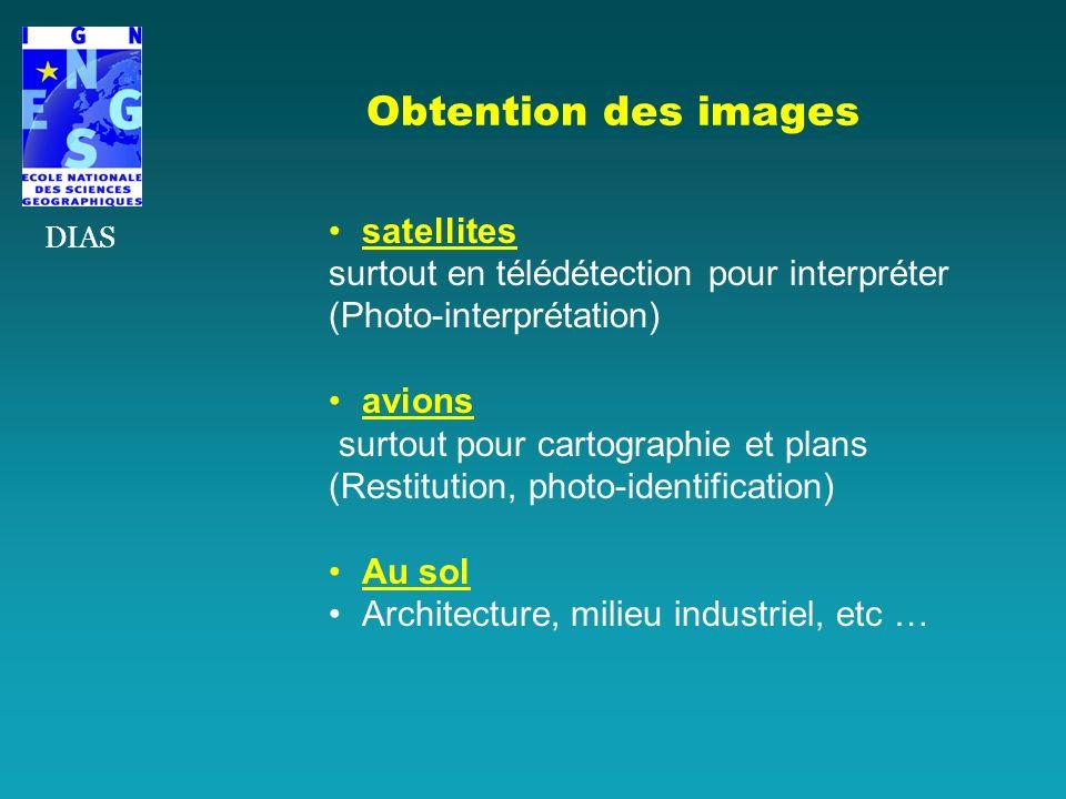 Obtention des images satellites surtout en télédétection pour interpréter (Photo-interprétation) avions surtout pour cartographie et plans (Restitutio