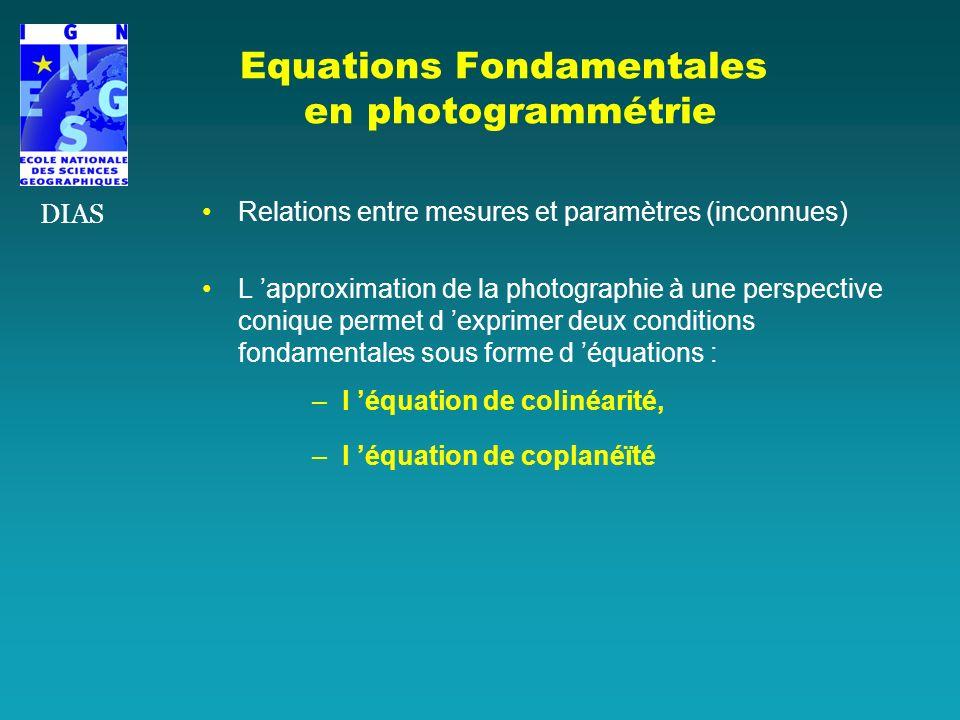 Equations Fondamentales en photogrammétrie Relations entre mesures et paramètres (inconnues) L approximation de la photographie à une perspective coni