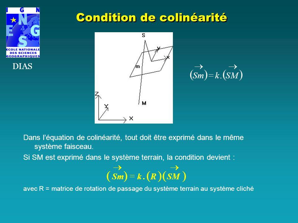 Dans léquation de colinéarité, tout doit être exprimé dans le même système faisceau. Si SM est exprimé dans le système terrain, la condition devient :