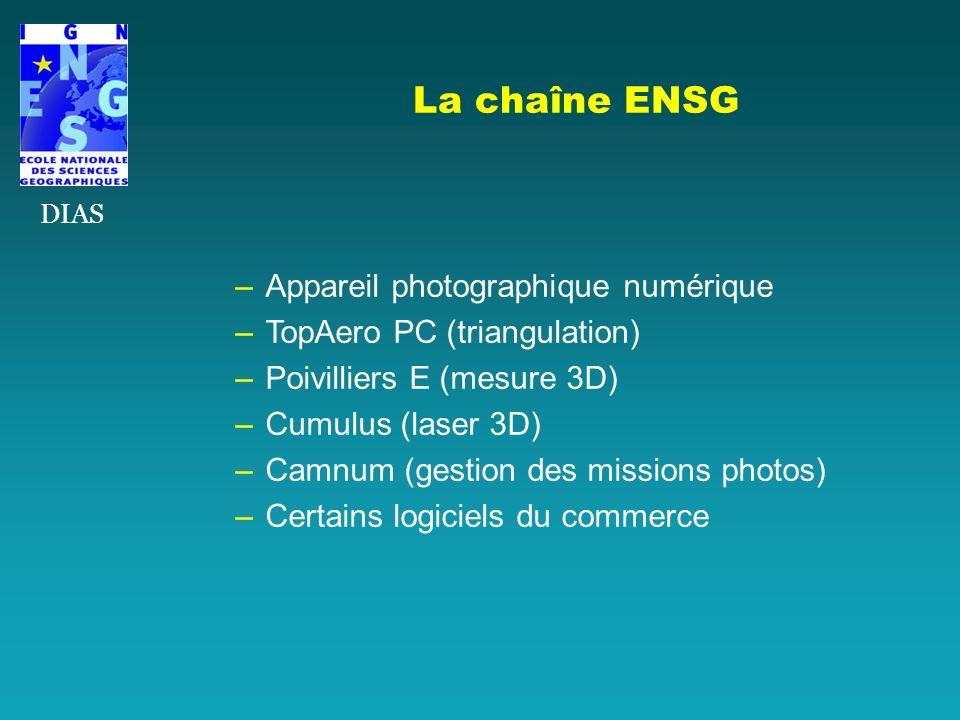 –Appareil photographique numérique –TopAero PC (triangulation) –Poivilliers E (mesure 3D) –Cumulus (laser 3D) –Camnum (gestion des missions photos) –C