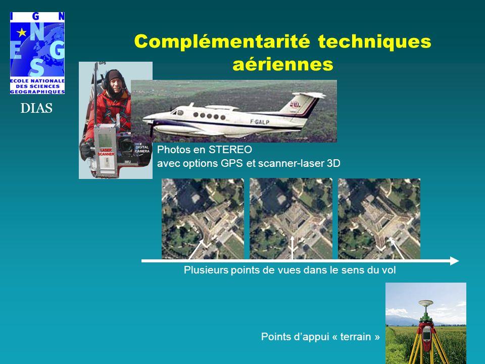 Complémentarité techniques aériennes DIAS Photos en STEREO avec options GPS et scanner-laser 3D Points dappui « terrain » Plusieurs points de vues dan