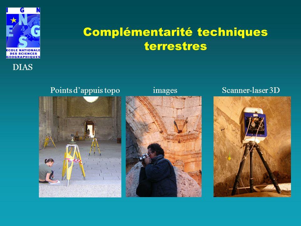 Complémentarité techniques terrestres DIAS Points dappuis topo images Scanner-laser 3D