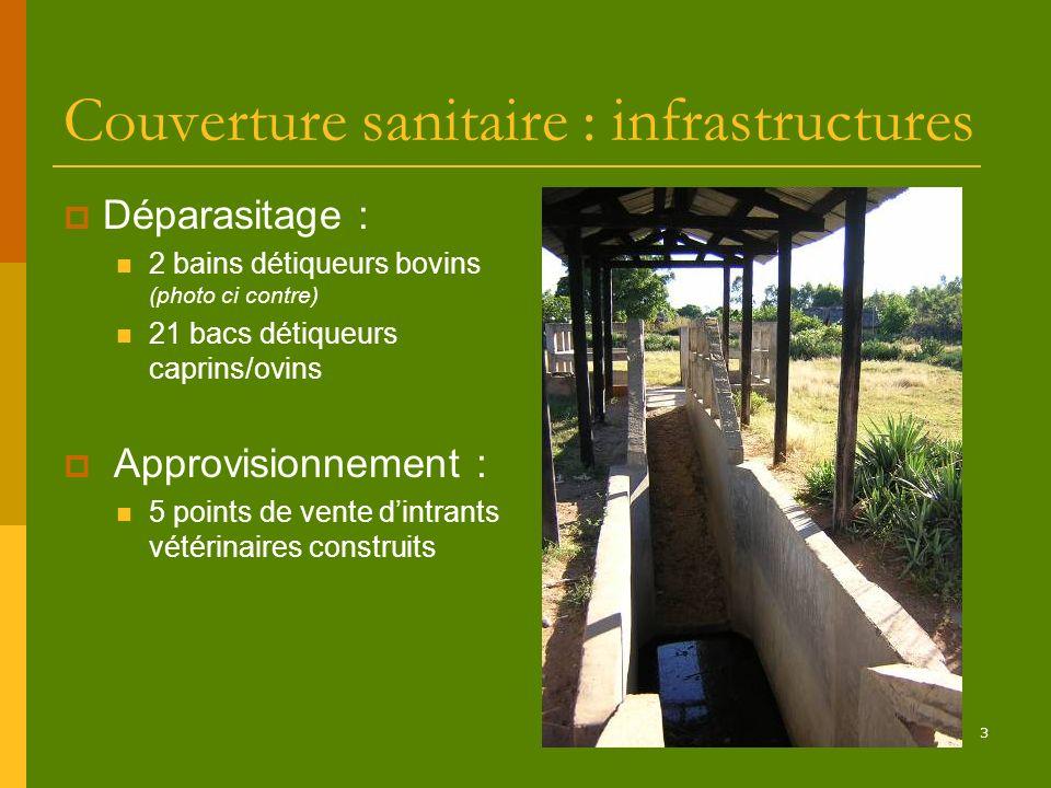 3 Couverture sanitaire : infrastructures Déparasitage : 2 bains détiqueurs bovins (photo ci contre) 21 bacs détiqueurs caprins/ovins Approvisionnement