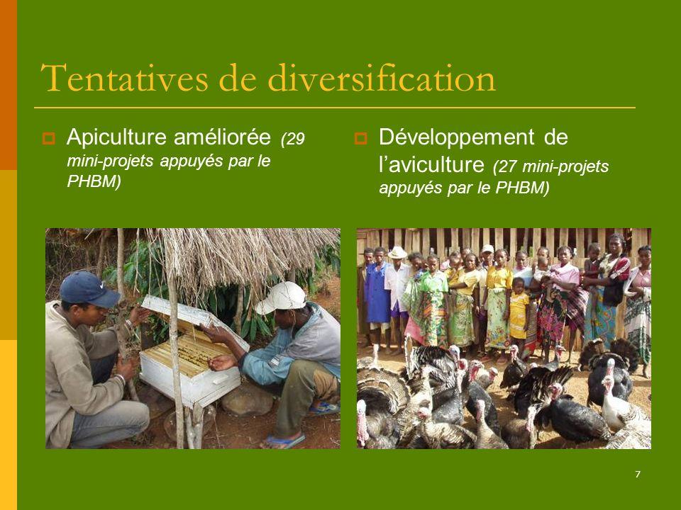 7 Tentatives de diversification Apiculture améliorée (29 mini-projets appuyés par le PHBM) Développement de laviculture (27 mini-projets appuyés par l