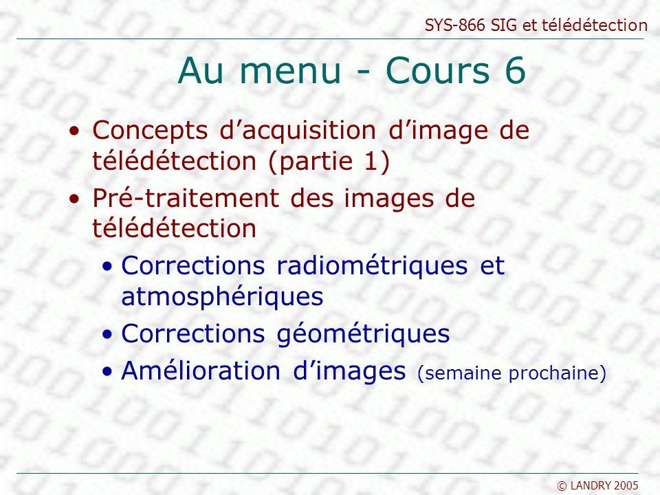 SYS-866 SIG et télédétection © LANDRY 2005 Au menu - Cours 6 Concepts dacquisition dimage de télédétection (partie 1) Pré-traitement des images de tél