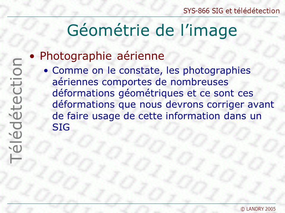SYS-866 SIG et télédétection © LANDRY 2005 Géométrie de limage Télédétection Photographie aérienne Comme on le constate, les photographies aériennes c