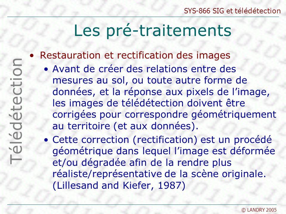 SYS-866 SIG et télédétection © LANDRY 2005 Les pré-traitements Restauration et rectification des images Avant de créer des relations entre des mesures