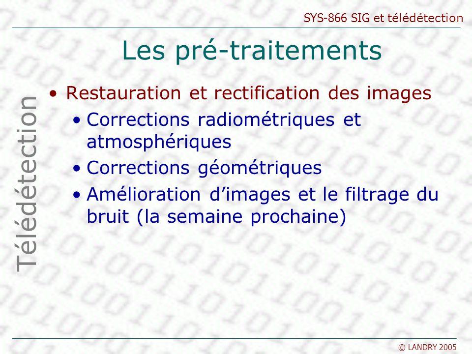 SYS-866 SIG et télédétection © LANDRY 2005 Les pré-traitements Restauration et rectification des images Corrections radiométriques et atmosphériques C