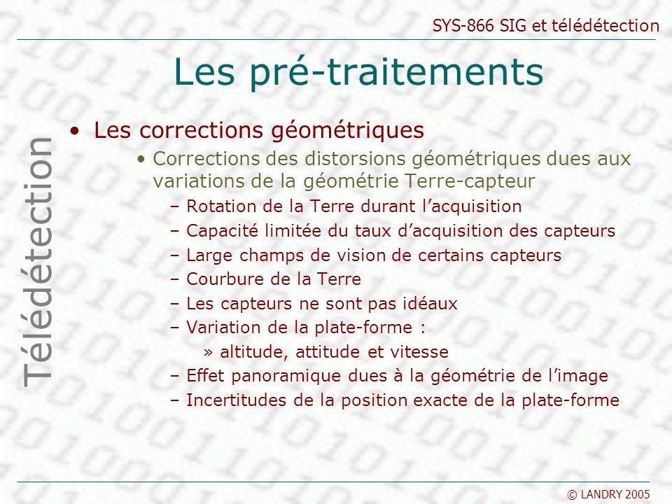 SYS-866 SIG et télédétection © LANDRY 2005 Les pré-traitements Les corrections géométriques Corrections des distorsions géométriques dues aux variatio