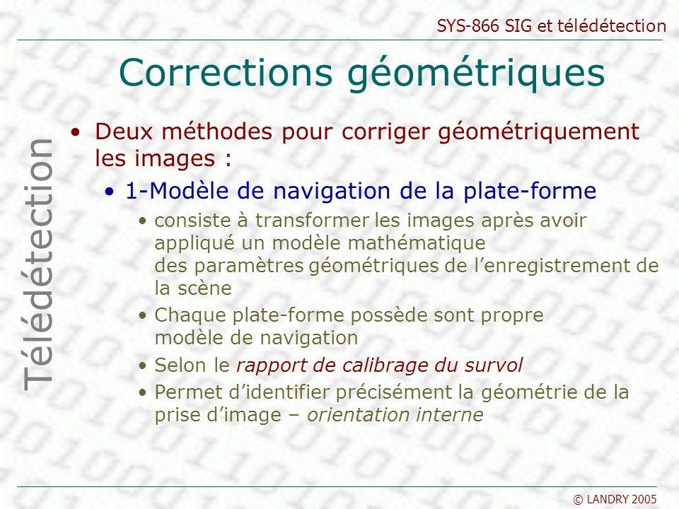 SYS-866 SIG et télédétection © LANDRY 2005 Corrections géométriques Deux méthodes pour corriger géométriquement les images : 1-Modèle de navigation de