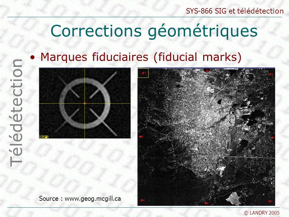 SYS-866 SIG et télédétection © LANDRY 2005 Corrections géométriques Marques fiduciaires (fiducial marks) Télédétection Source : www.geog.mcgill.ca