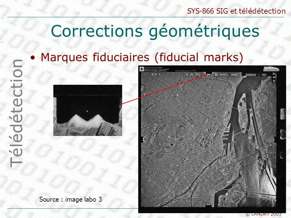 SYS-866 SIG et télédétection © LANDRY 2005 Corrections géométriques Marques fiduciaires (fiducial marks) Télédétection Source : image labo 3